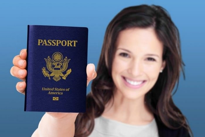 Women Hand holding Passport Layered PSD with smart object insertion