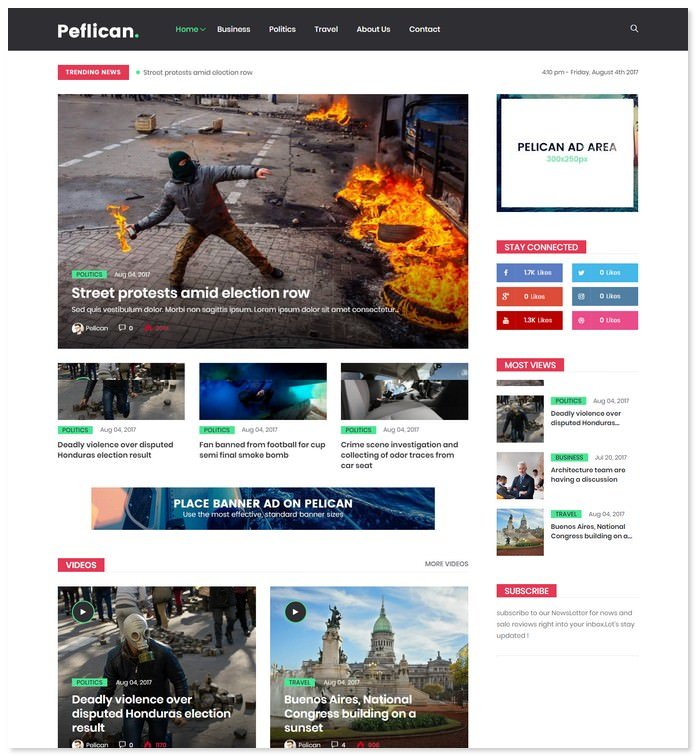 Peflican - A Newspaper & Magazine WordPress Theme