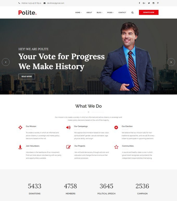 Polite – Political HTML5 Template
