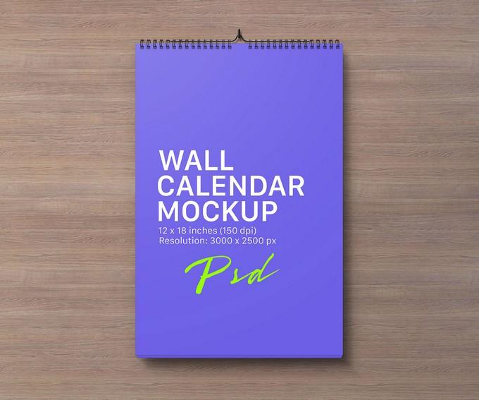 Portrait Wall Calendar Mockup PSD