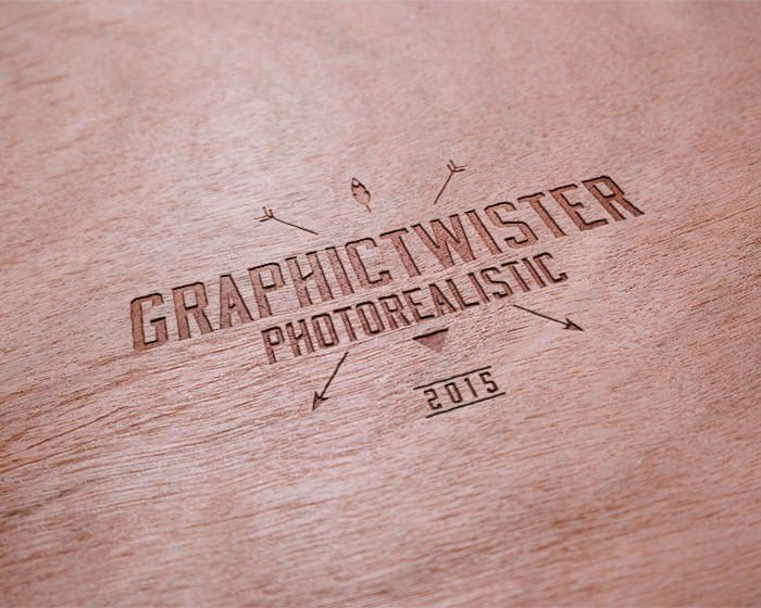 Realistic Wooden Logo Mockup Templates