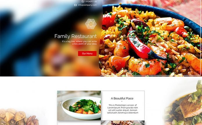 Landing Page PSD Template for Restaurant