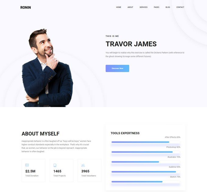 Ronin - HTML5 Personal Portfolio Website Template Free