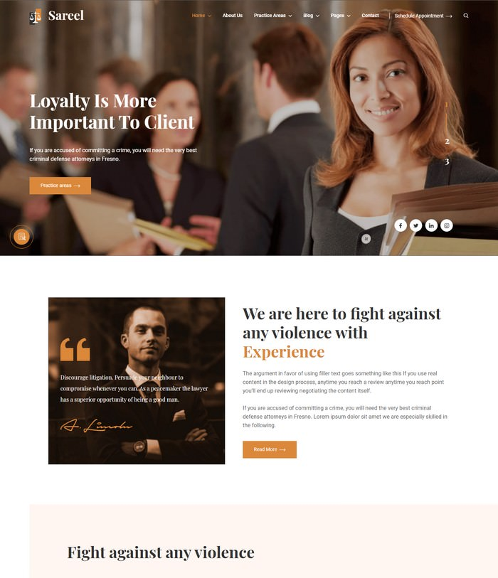 Sareel – Lawyer and Attorney HTML Template