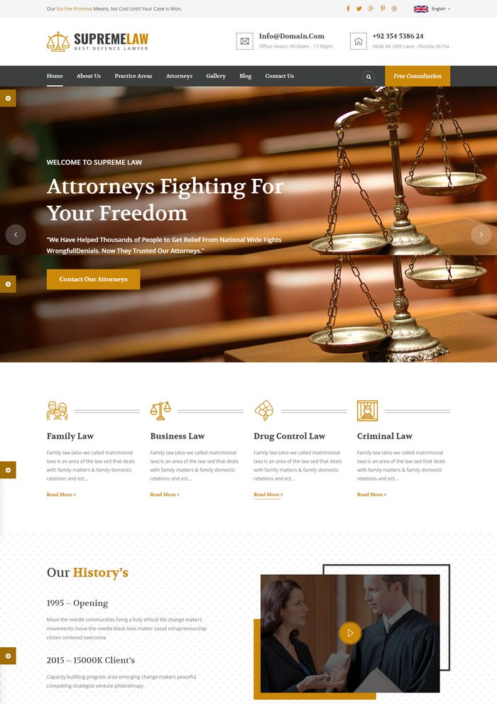Supremelaw - Lawyer HTML Template