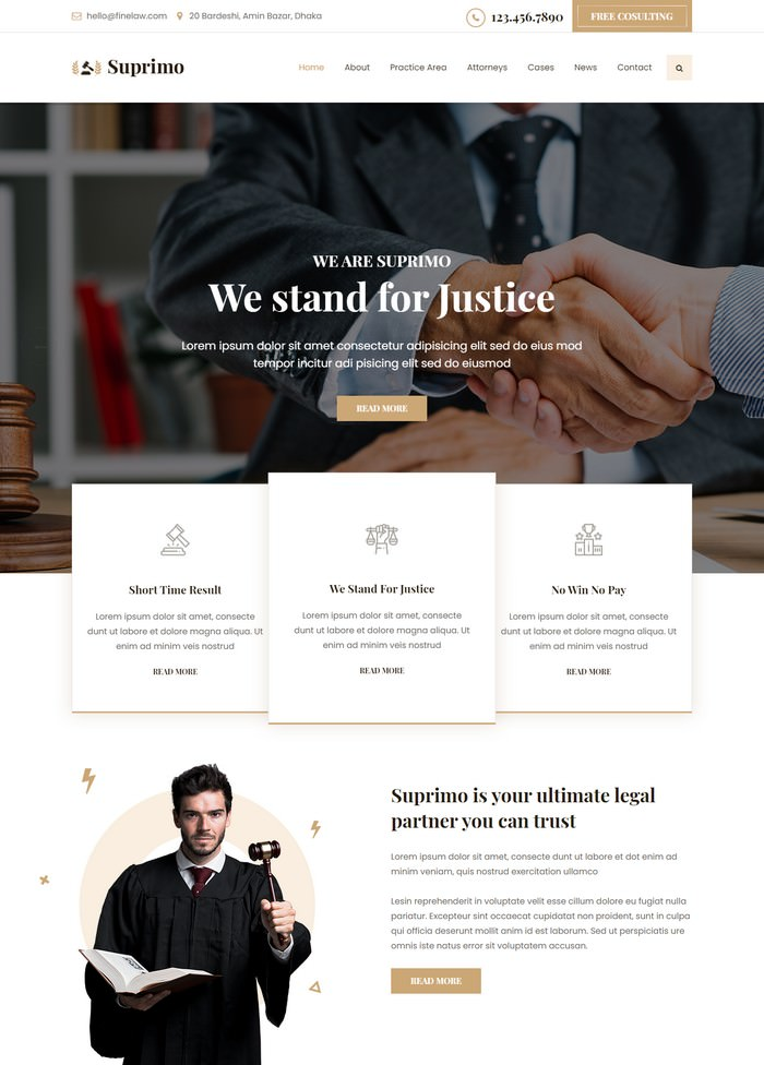Suprimo Lawyer Attorney Website HTML Template
