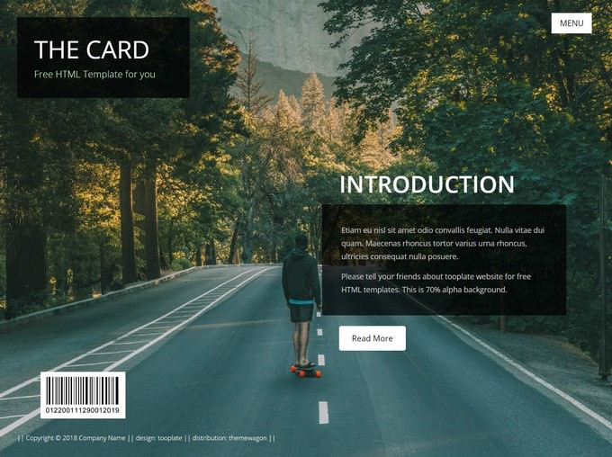 The Card - HTML5 Creative Portfolio Template Free