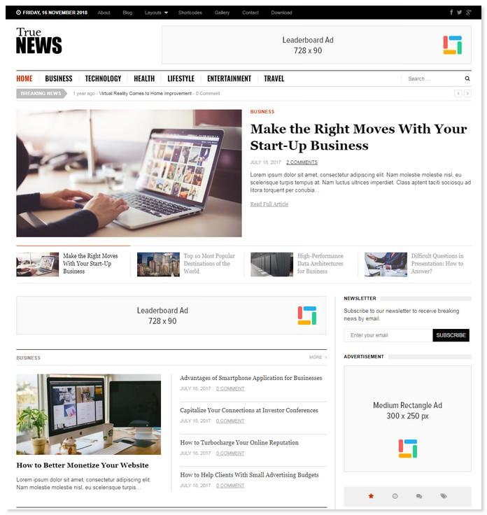 TrueNews WordPress Theme