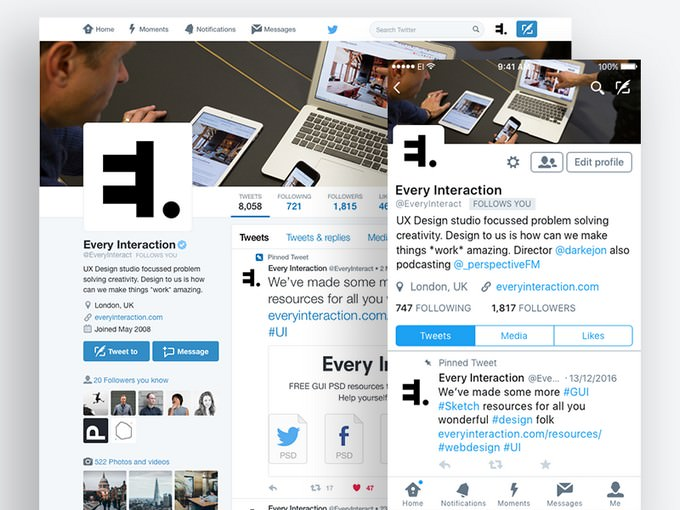Twitter Social Media Profile GUI PSD