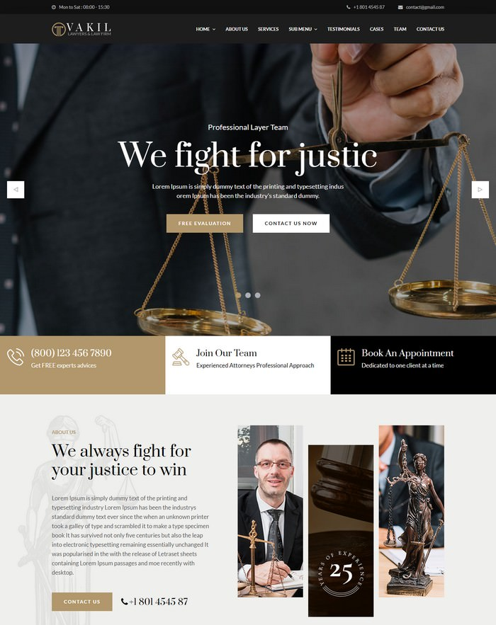 VAKIL - Lawyers Attorneys and Law Firm HTML Template