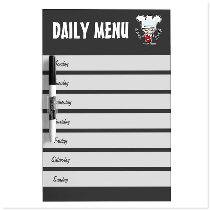 Weekly Menu Calendar Dry Erase Board Template