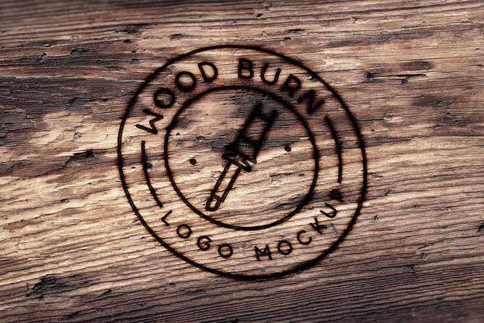 Wood Burn Logo Mockup