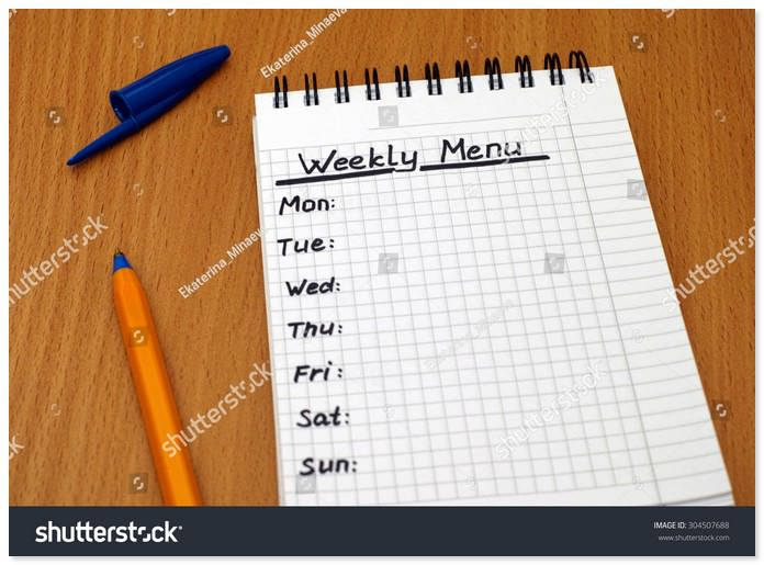 Words Weekly Menu