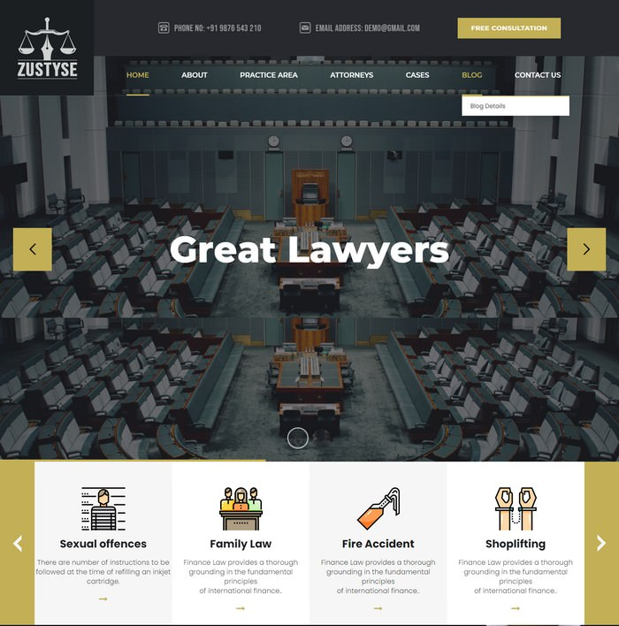 Zustyse - Lawyer & Attorney HTML Template