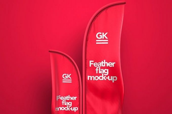 3D Feather Flags Mock-up