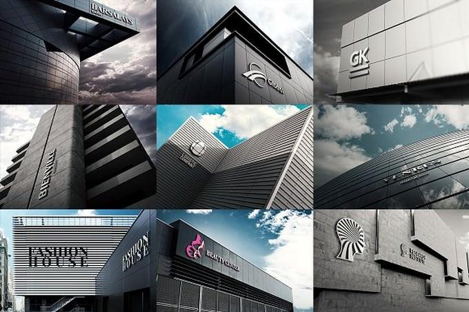 3D Logo Wall Bundle Mock-Up