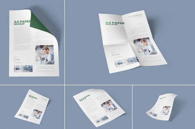 5 A4 Size Paper Mockups