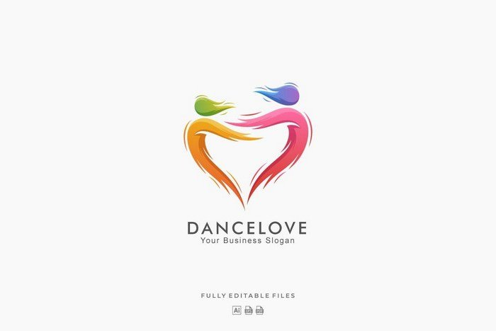 Abstract Dance Love Colorful Logo