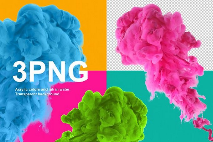 Acrylic colors. Transparent. PNG