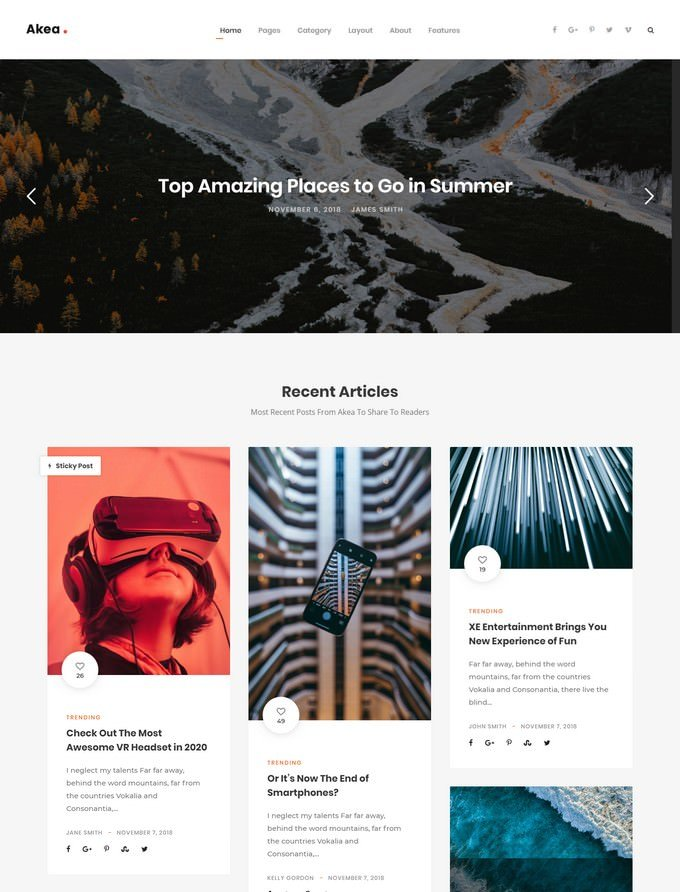 Akea - Gutenberg Minimal Blog WordPress For Blog