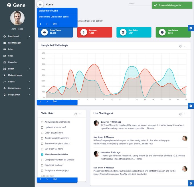 Angular 7 Admin Template with Material Design
