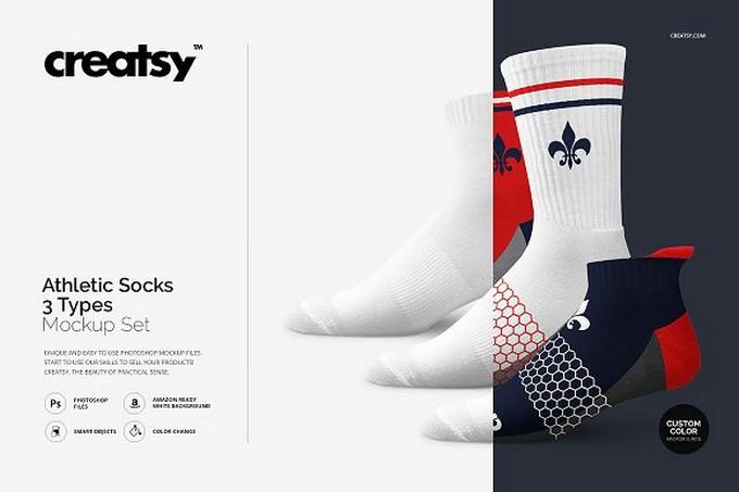 Athletic Socks 3 Types Mockup Set