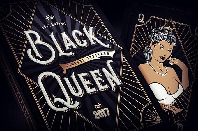 Black Queen Label Font + bonus graphics