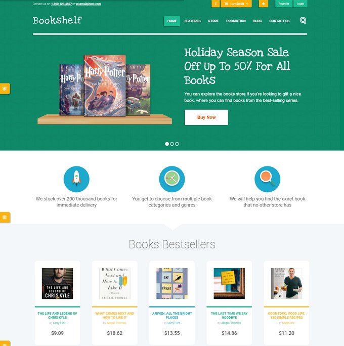 Bookshelf Books & Media Online Store WordPress Theme