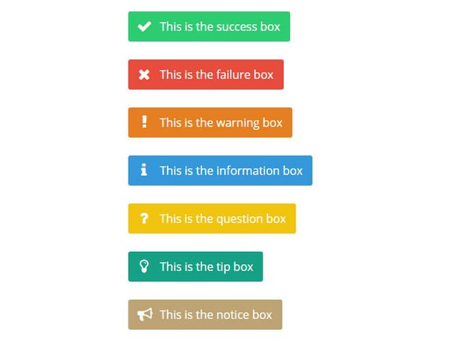 CSS Notification Boxes (using Font Awesome)