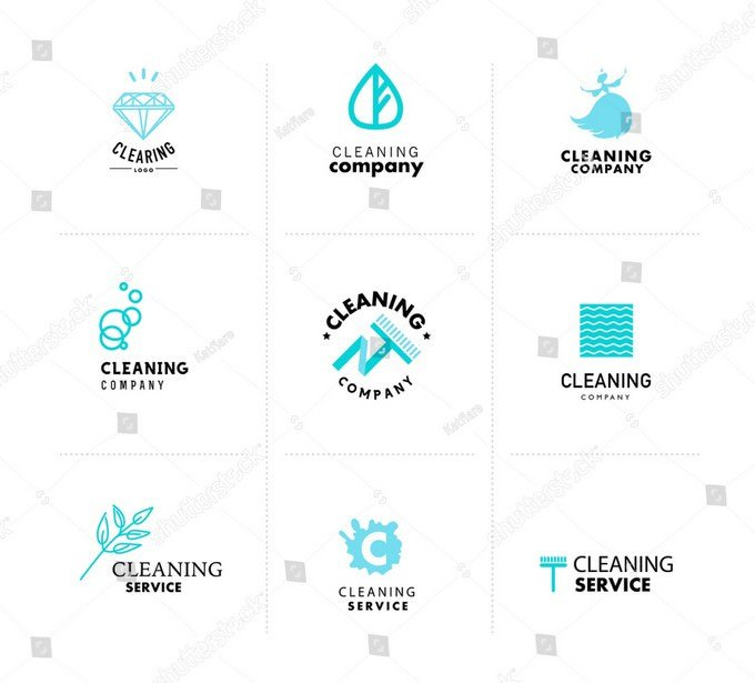Collection of Flat Logo For Cleaning Company