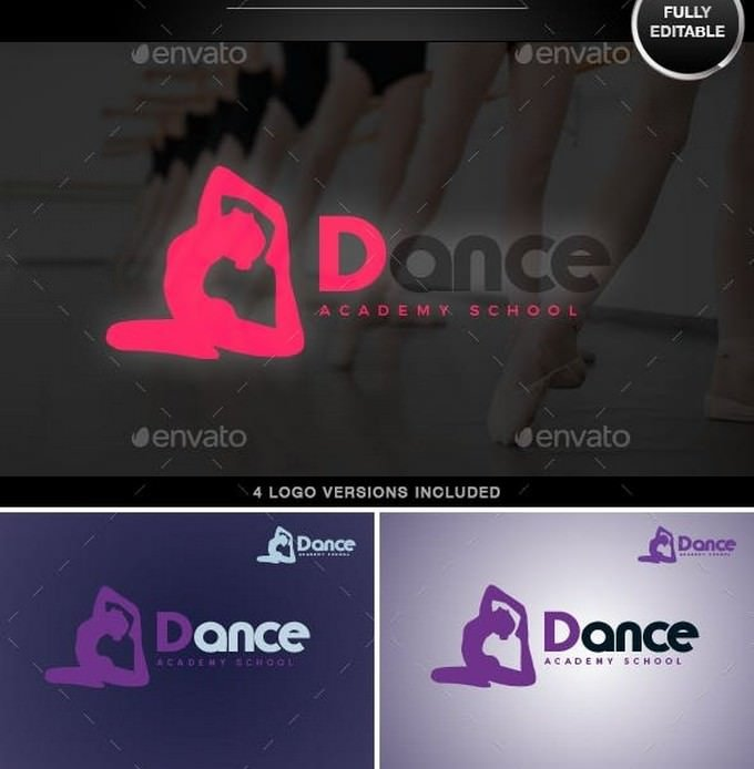 Dance and Fitness Vector Logo Template