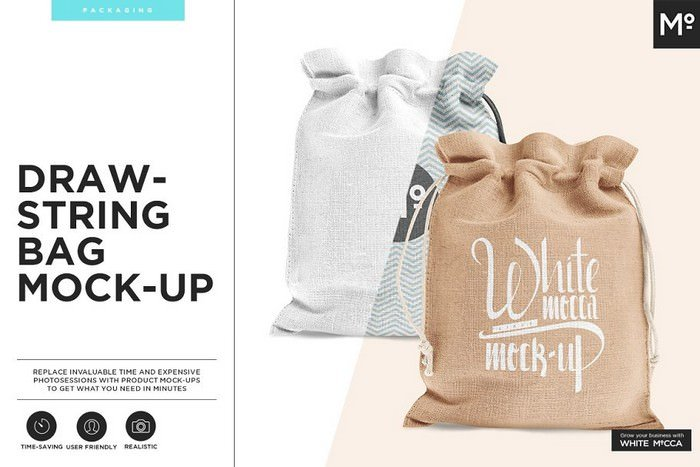 Drawstring Burlap Jute Bag Mock-up