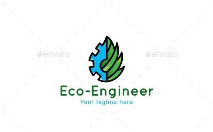 Eco Engineer Manufacturing Industry Stock Logo