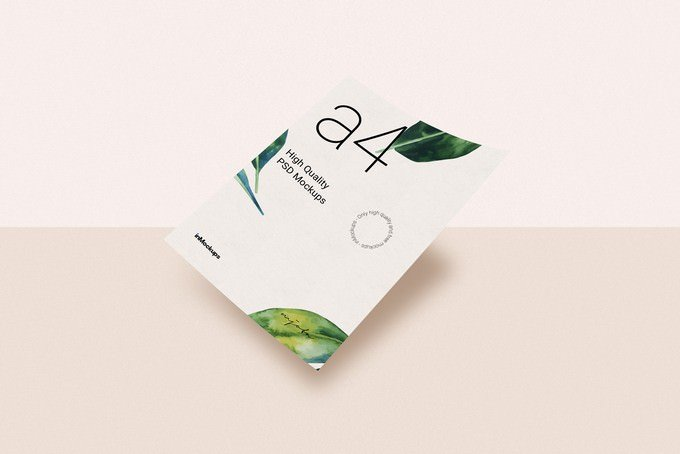 Flaying Horizontal A4 Paper Mockup