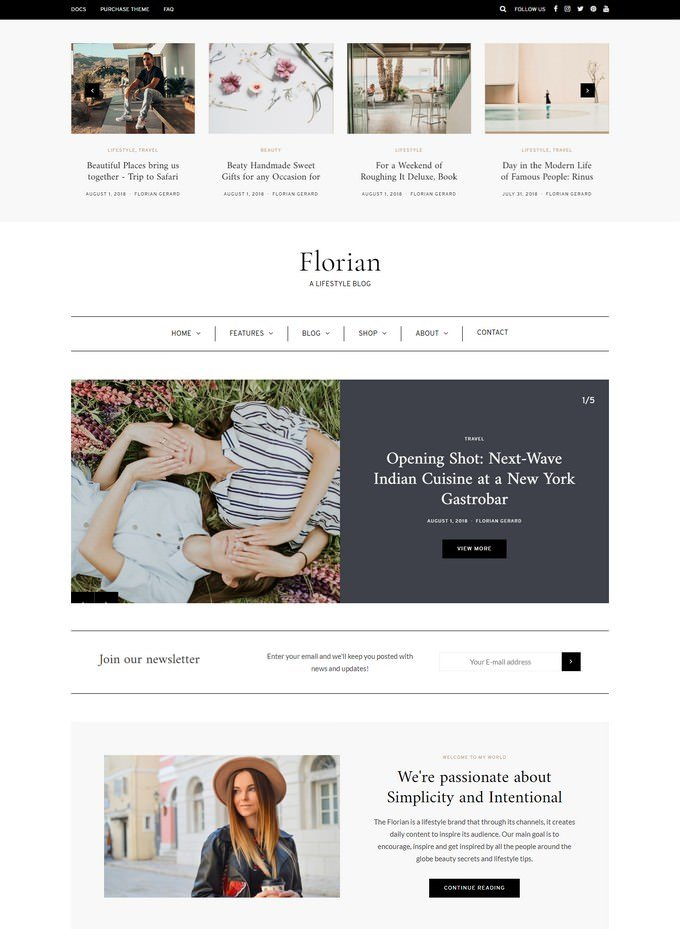 Florian - WordPress Blog Theme Enhanced for Gutenberg