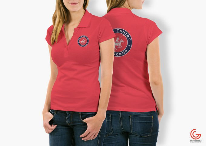 Free Woman With Polo T-Shirt Mockup