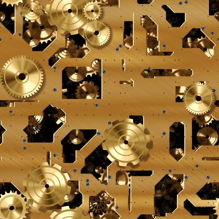 Gold Or Brass Cogs And Clockwork Texture