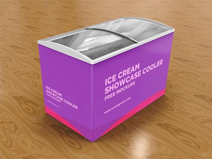 Ice Cream Showcase Cooler Mockup