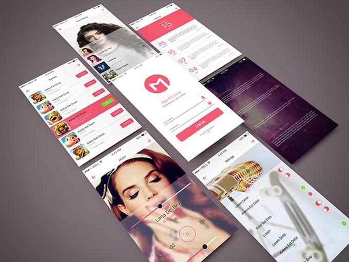 Isometric App Screen PSD Mockup