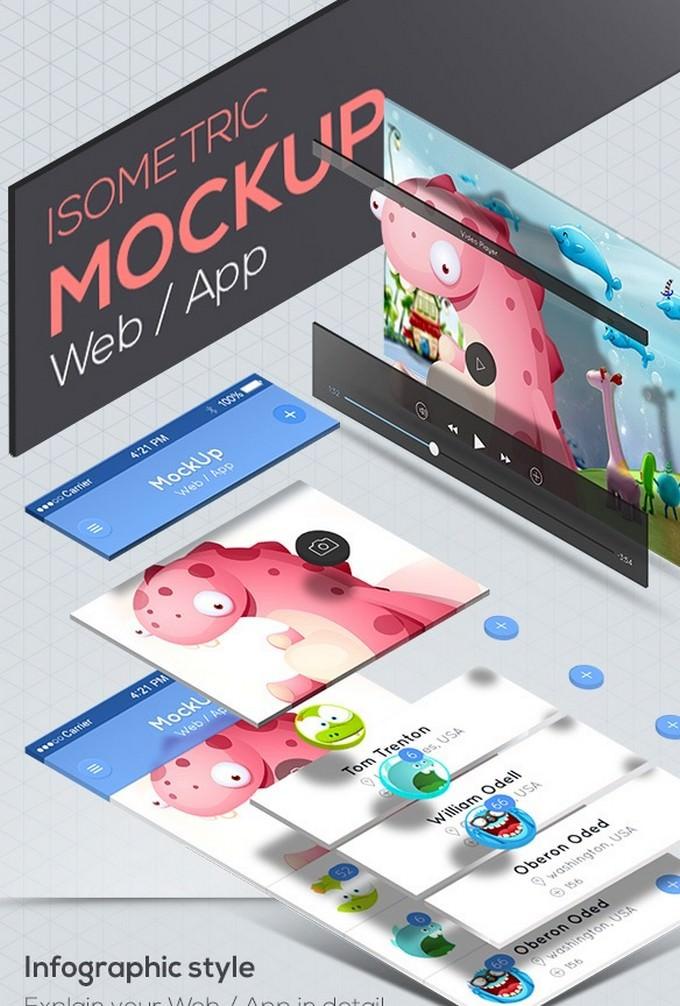 Isometric Mockup for Web - App
