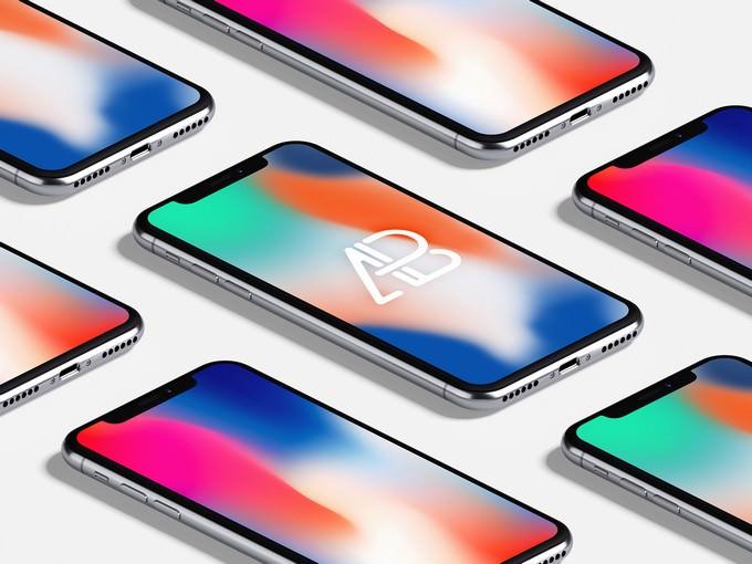 Isometric iPhone X Mockup Vol.3
