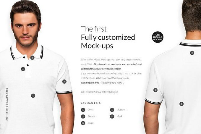 Men Polo Shirt Mockups Set FREE DEMO