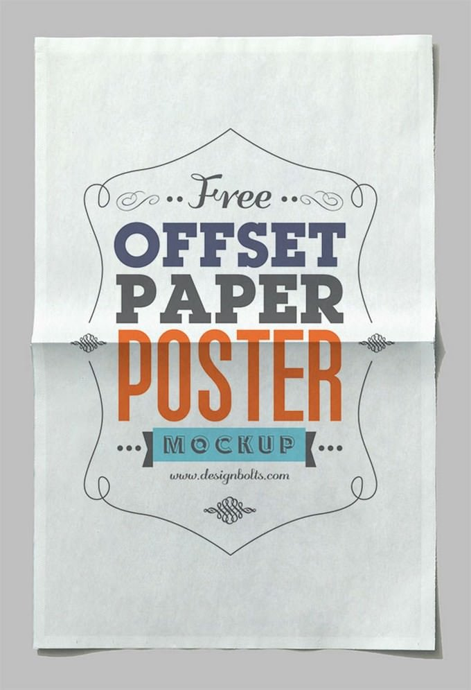 Offset Paper Horizontal Poster Mock-up PSD