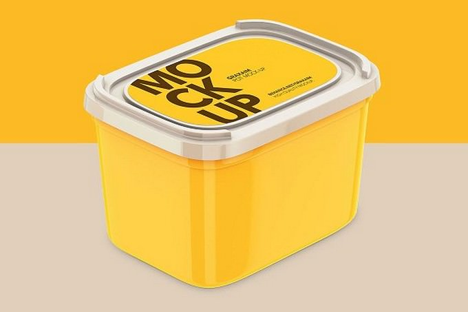 Plastic Container - With Paper Label