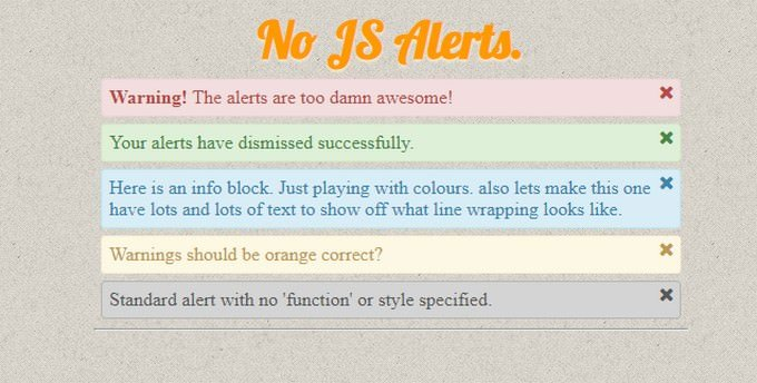 Pure HTML + CSS Alerts With Dismiss