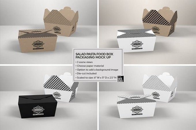 Salad Food Box Packaging Mockup