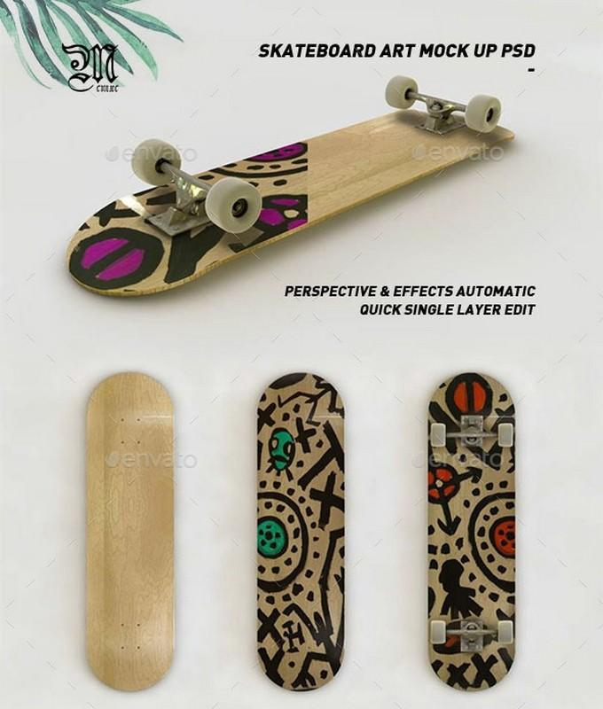 Skateboard Art Mock-Up PSD