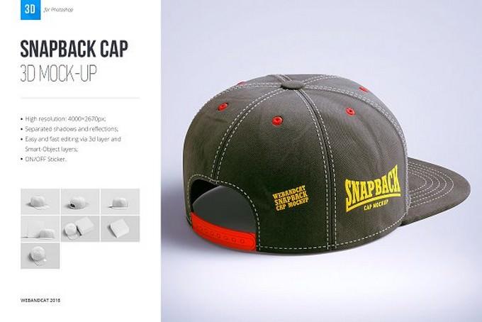 Snapback Cap 3d Mockup