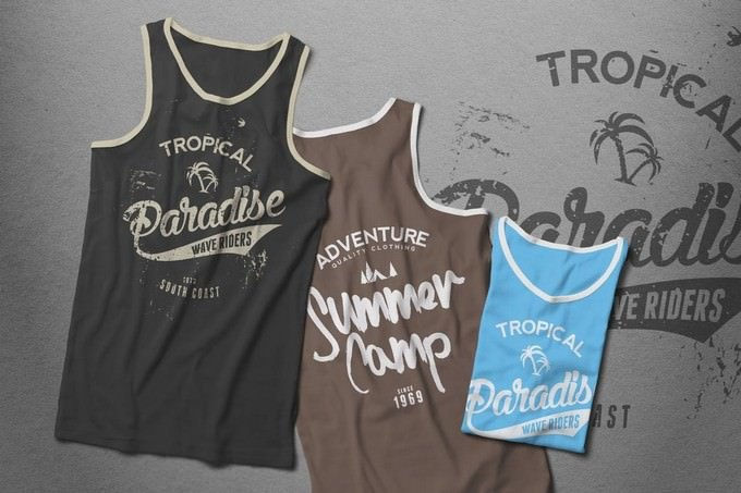 Tank Top T-shirt Mock-up Male Version