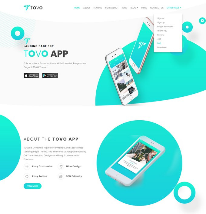 Tovo - Angular 7 and Angular 6 App Landing Page